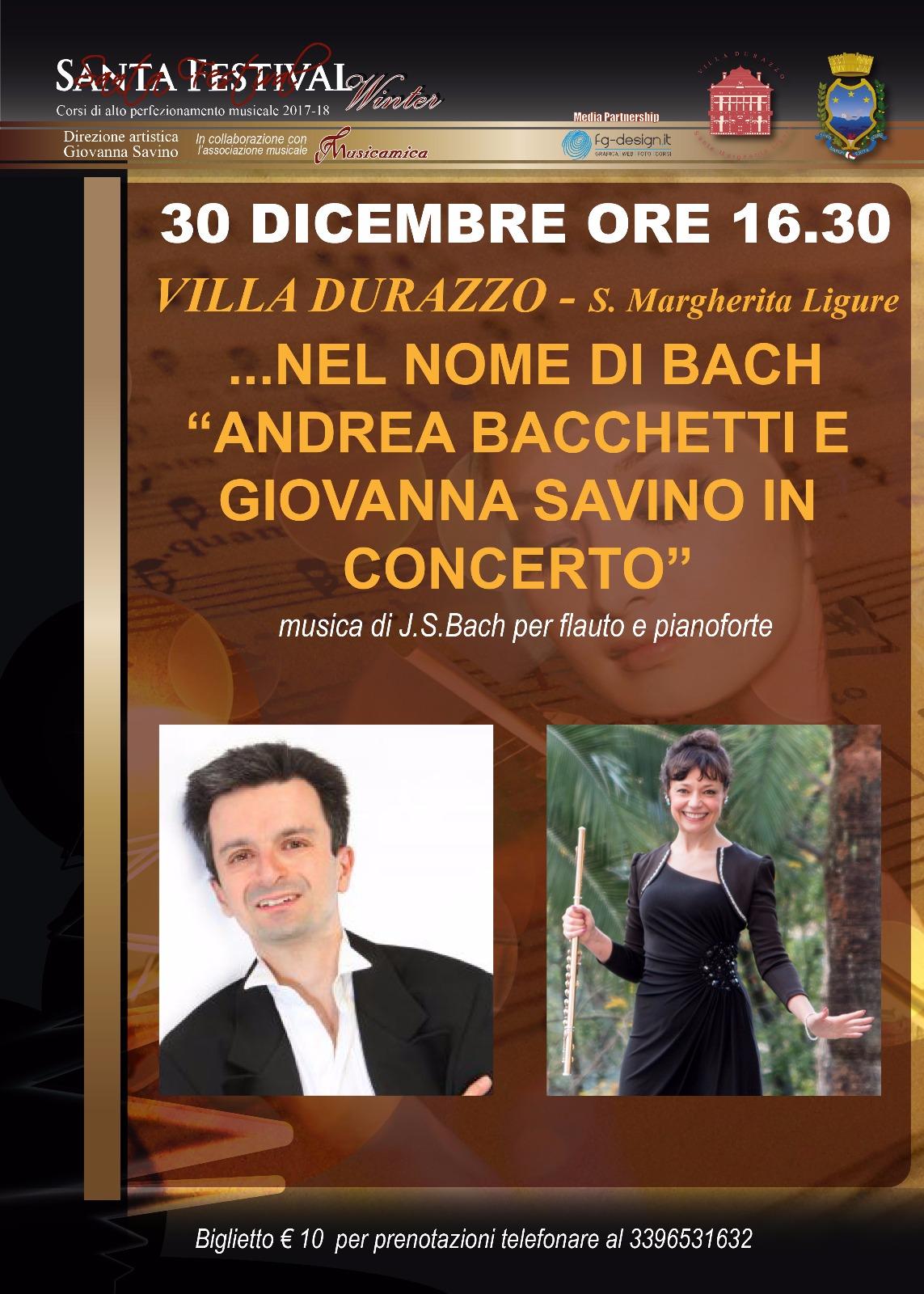 Sabato 30 dicembre ore 16.30 concerto Bacchetti-Savino