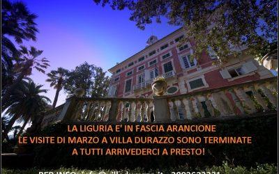"""Le visite """"Villa Durazzo: un destino straordinario"""" sono terminate a causa dell'inserimento della regione nella fascia arancione"""